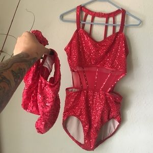 💃🏻Balera red sequins leotard and footsies💃🏻